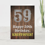 [ Thumbnail: 59th Birthday: Country Western Inspired Look, Name Card ]