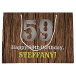 [ Thumbnail: 59th Birthday: Country Western Inspired Look, Name Gift Bag ]