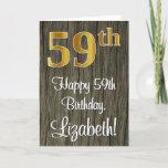 [ Thumbnail: 59th Birthday: Elegant Faux Gold Look #, Faux Wood Card ]
