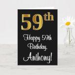 [ Thumbnail: 59th Birthday ~ Elegant Luxurious Faux Gold Look # Card ]