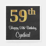 [ Thumbnail: 59th Birthday ~ Elegant Luxurious Faux Gold Look # Napkins ]