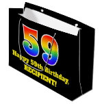 [ Thumbnail: 59th Birthday ~ Fun, Colorful, Vibrant, Rainbow 59 Gift Bag ]