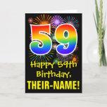 [ Thumbnail: 59th Birthday: Fun Fireworks Pattern + Rainbow 59 Card ]
