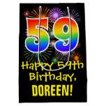[ Thumbnail: 59th Birthday: Fun Fireworks Pattern + Rainbow 59 Gift Bag ]