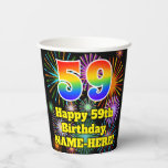 [ Thumbnail: 59th Birthday: Fun Fireworks Pattern + Rainbow 59 ]