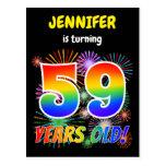 "[ Thumbnail: 59th Birthday - Fun Fireworks, Rainbow Look ""59"" Postcard ]"
