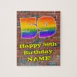 [ Thumbnail: 59th Birthday: Fun Graffiti-Inspired Rainbow 59 Jigsaw Puzzle ]