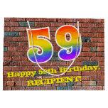 [ Thumbnail: 59th Birthday: Fun, Graffiti-Inspired Rainbow # 59 Gift Bag ]