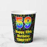 [ Thumbnail: 59th Birthday: Fun Music Notes Pattern, Rainbow 59 ]