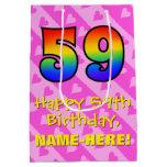 [ Thumbnail: 59th Birthday: Fun Pink Hearts Stripes; Rainbow 59 Gift Bag ]