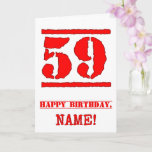 [ Thumbnail: 59th Birthday: Fun, Red Rubber Stamp Inspired Look Card ]