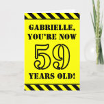 [ Thumbnail: 59th Birthday: Fun Stencil Style Text, Custom Name Card ]