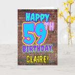 [ Thumbnail: 59th Birthday - Fun, Urban Graffiti Inspired Look Card ]