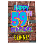 [ Thumbnail: 59th Birthday: Fun, Urban Graffiti Inspired Look Gift Bag ]