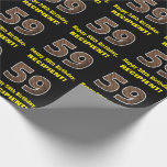 "[ Thumbnail: 59th Birthday: Name & Faux Wood Grain Pattern ""59"" Wrapping Paper ]"