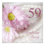 "59th Birthday party invitation with daisies 5.25"" Square Invitation Card"
