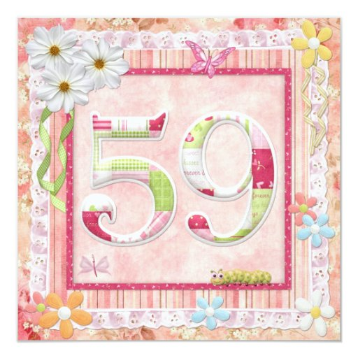 "59th birthday party scrapbooking style 5.25"" square invitation card"