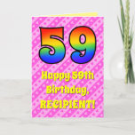 [ Thumbnail: 59th Birthday: Pink Stripes & Hearts, Rainbow # 59 Card ]