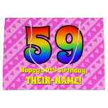 [ Thumbnail: 59th Birthday: Pink Stripes & Hearts, Rainbow # 59 Gift Bag ]