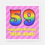 [ Thumbnail: 59th Birthday: Pink Stripes & Hearts, Rainbow # 59 Napkins ]