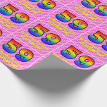 [ Thumbnail: 59th Birthday: Pink Stripes & Hearts, Rainbow # 59 Wrapping Paper ]