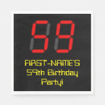 "[ Thumbnail: 59th Birthday: Red Digital Clock Style ""59"" + Name Napkins ]"