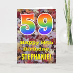 "[ Thumbnail: 59th Birthday; Rustic Autumn Leaves; Rainbow ""59"" Card ]"