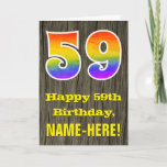 "[ Thumbnail: 59th Birthday: Rustic Faux Wood Look, Rainbow ""59"" Card ]"
