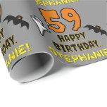 [ Thumbnail: 59th Birthday: Spooky Halloween Theme, Custom Name Wrapping Paper ]