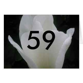 59th Birthday White Tulip age Birthday Greeting Card