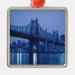 59th Street Bridge, New York, USA Square Metal Christmas Ornament