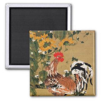 5. 向日葵雄鶏図, 若冲 Sunflower and Rooster, Jakuchū 2 Inch Square Magnet