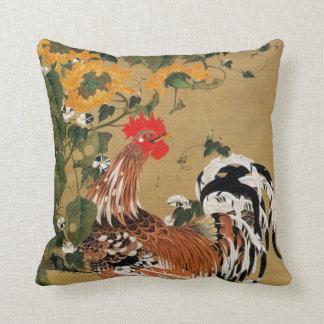 5. 向日葵雄鶏図, 若冲 Sunflower and Rooster, Jakuchū Throw Pillow