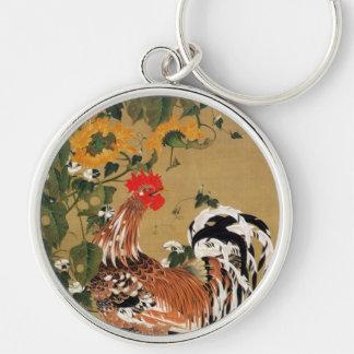 5. 向日葵雄鶏図, girasol y gallo, Jakuchū del 若冲 Llavero Redondo Plateado