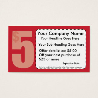 $5.00 Off Coupon Business Card