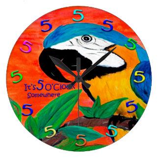 5 0 clock parrot wall clock
