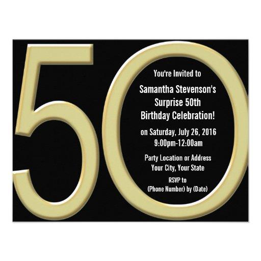 5-0 invitaciones grandes del fiesta del oro invitacion personalizada