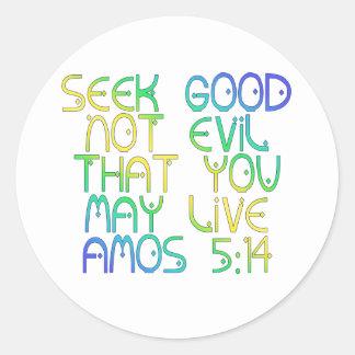 5:14 de los Amos Pegatina Redonda