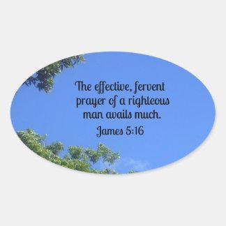 5:16 de James el rezo eficaz, ferviente… Pegatina Ovalada