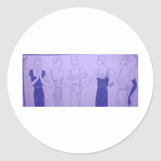 5 1920s Deco Flappers in Cocktail Dresses Classic Round Sticker