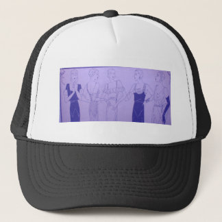5 1920s Deco Flappers in Cocktail Dresses Trucker Hat
