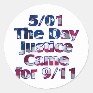 5/1 justicia del día vino para 9/11 pegatina redonda