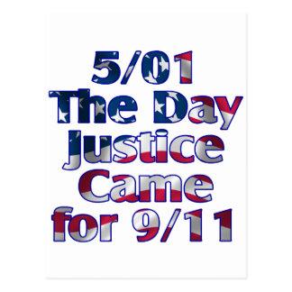 5/1 justicia del día vino para 9/11 postal