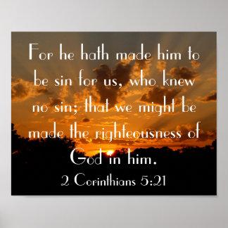 5:21 de los Corinthians del verso 2 de la biblia d Póster