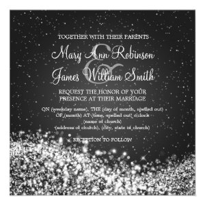 "5.25"" Elegant Wedding Sparkling Wave Black Personalized Invite"
