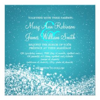 5 25 Elegant Wedding Sparkling Wave Blue Custom Invitations