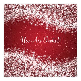 "5.25"" Elegant Wedding Sparkling Wave Red Invitation"