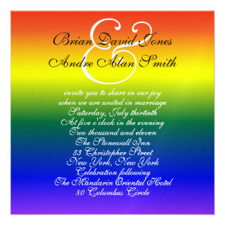 5 25 Sq Gay Wedding Rainbow LGBT Pride Metallic Personalized Announcements
