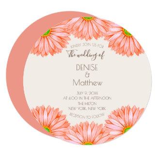 "5.25"" x 5.25"" Apricot Gerbera Wedding Invitation"