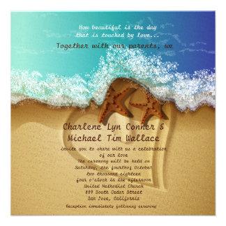 "5.25"" x 5.25"" Beach Wedding Invitation"